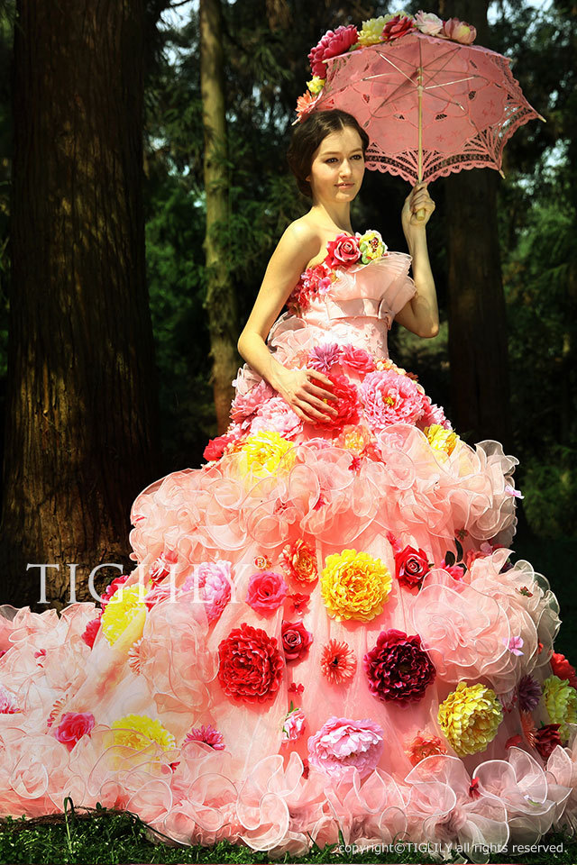 TIGLILY カラードレス Aライン ピンク お花のドレス c090