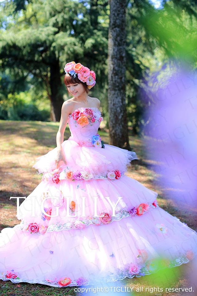 TIGLILY カラードレス Aライン 2way お花のドレス c095