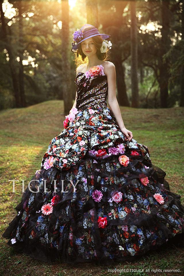 TIGLILY ティグリリィ  カラードレス Aライン お花のドレス c096 ブラック