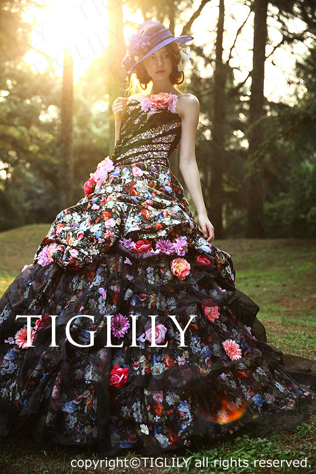 TIGLILY カラードレス Aライン お花のドレス c096