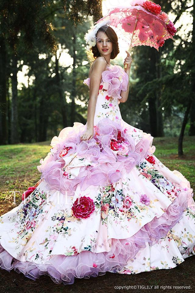 TIGLILY カラードレス Aライン お花のドレス c097 ピンク