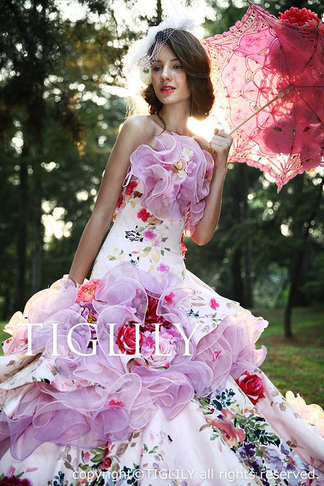 TIGLILY カラードレス Aライン お花のドレス c097