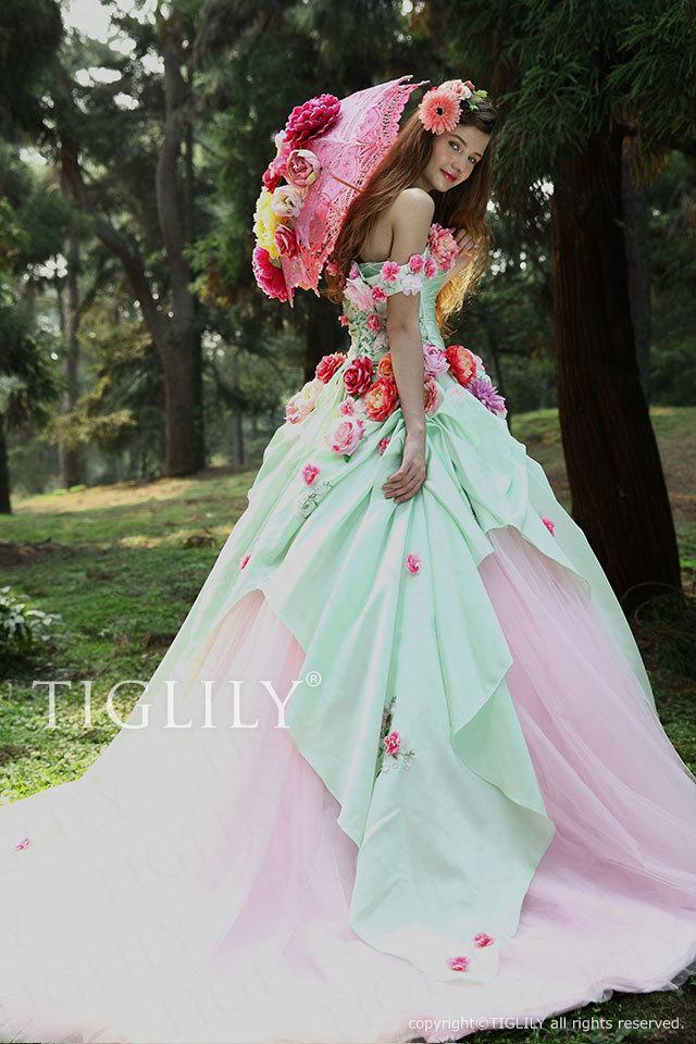 TIGLILY ティグリリィ カラードレス Aライン お花のドレス c098 グリーン ピンク