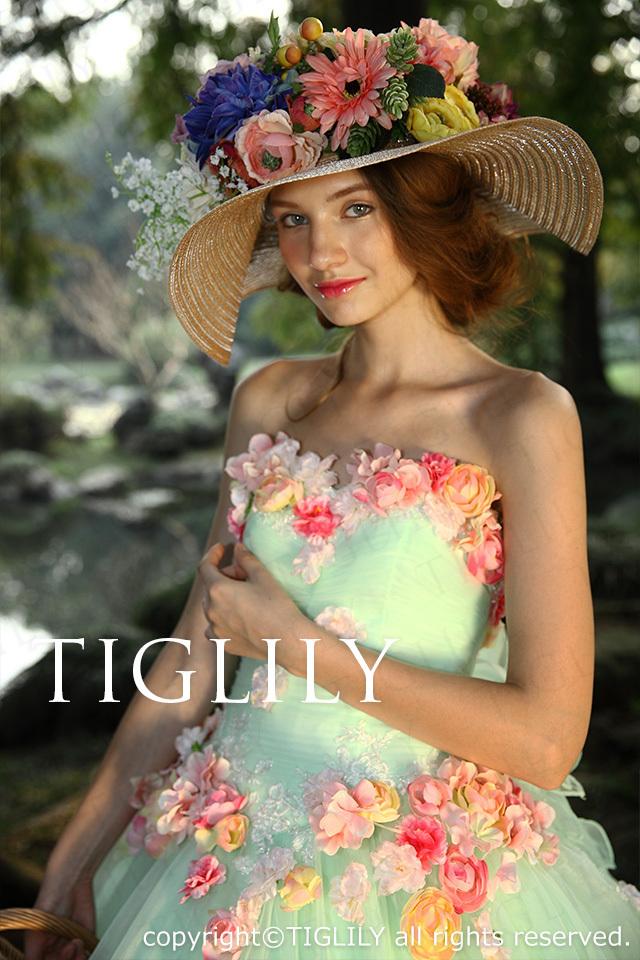 TIGLILY c116 お花のカラードレス