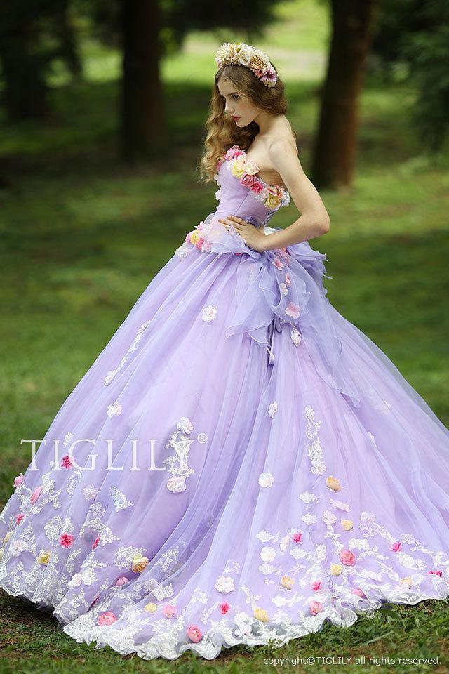c116p TIGLILY フラワードレス パープル ティグリリィ カラードレス