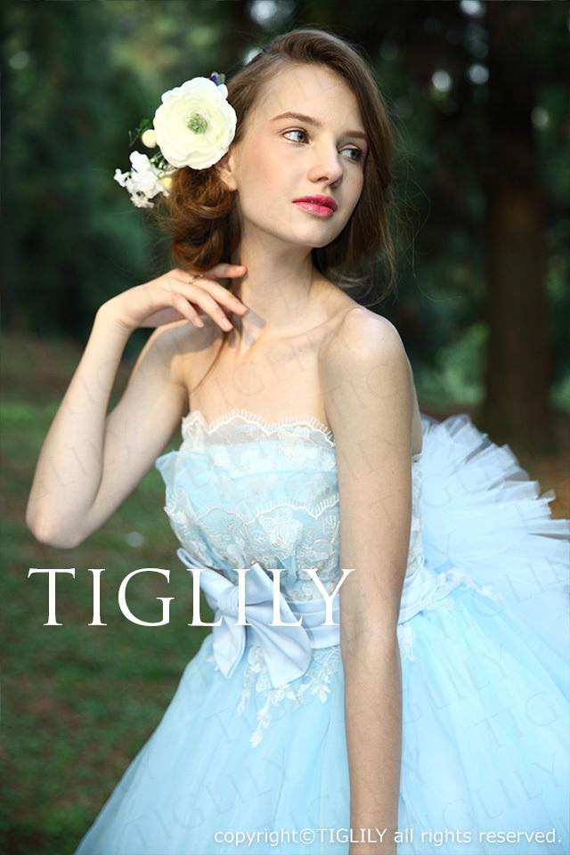 c119 TIGLILY ティグリリィ カラードレス Aライン ブルー