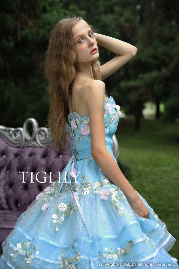 TIGLILY カラードレス Aライン ブルー c121