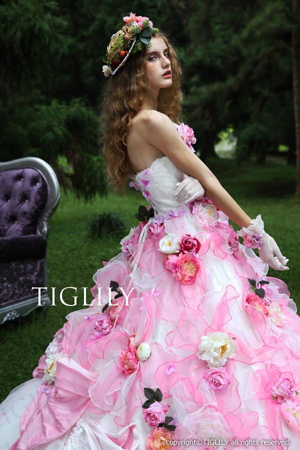 TIGLILY カラードレス Aライン ピンク リボン c122