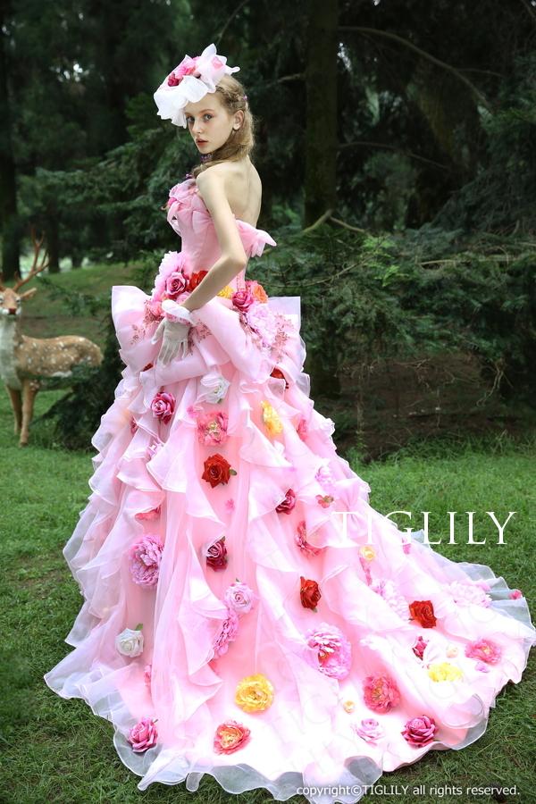 TIGLILY カラードレス Aライン ピンク リボン c123