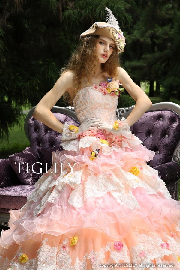 TIGLILY カラードレス Aライン ピンク  c124