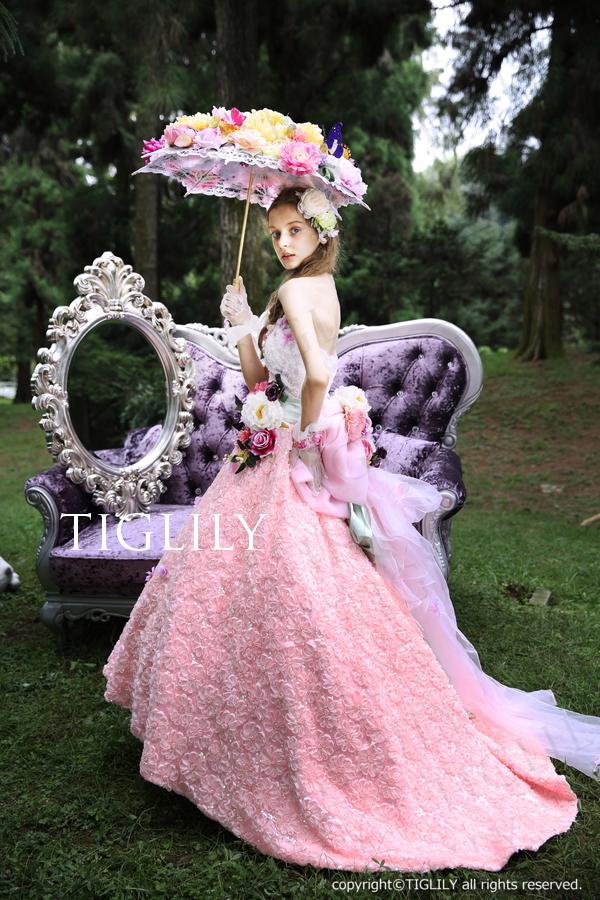 TIGLILY カラードレス Aラインピンク c127