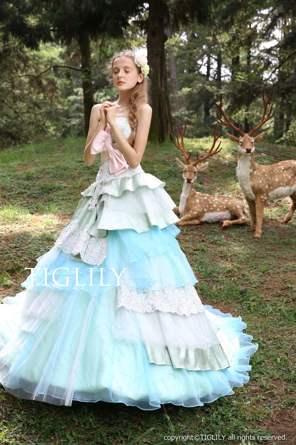 TIGLILY カラードレス Aライン ブルー c128