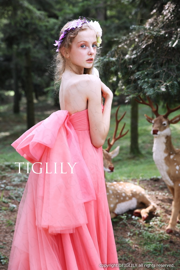 TIGLILY カラードレス スレンダー ピンク c130