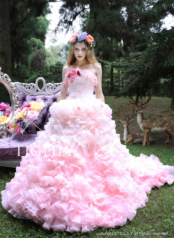 TIGLILY カラードレス お花のドレス ピンク