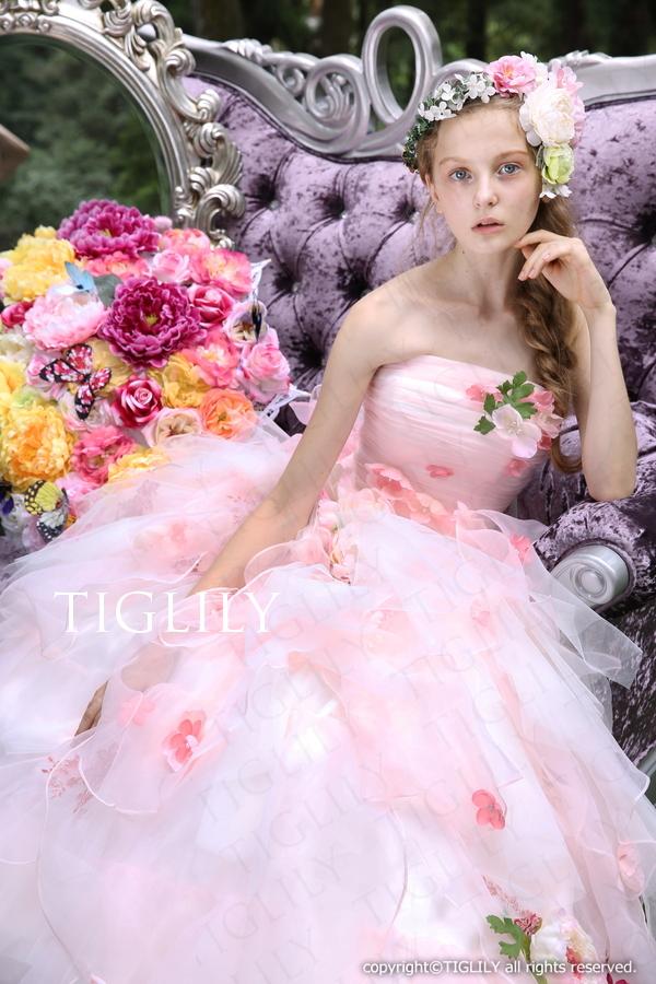 TIGLILY カラードレス グラデーション ピンク(c133)