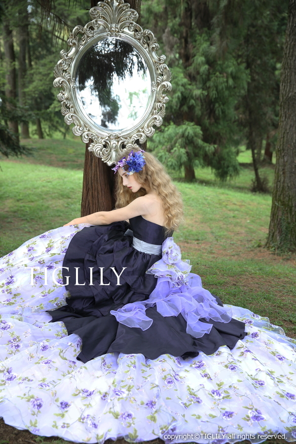 TIGLILY カラードレス ネイビー 紺(c138)