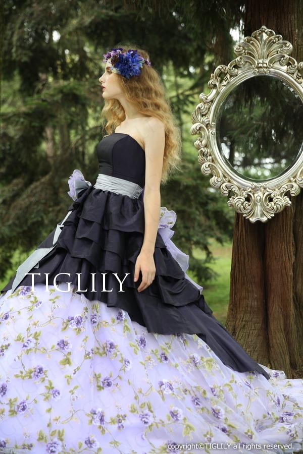 TIGLILY カラードレス 紺 ネイビー c138