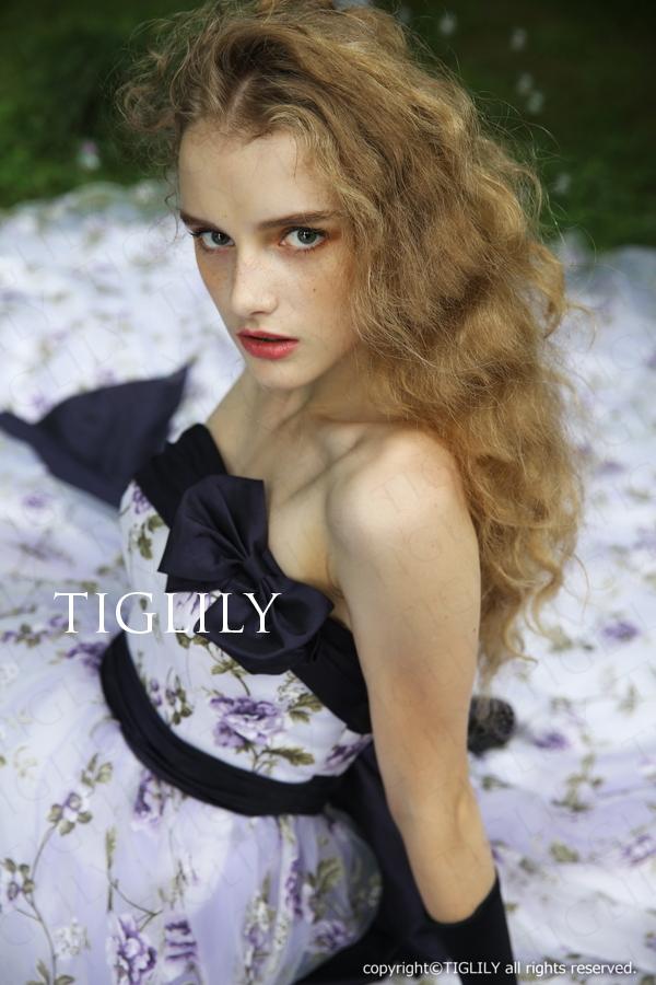 TIGLILY カラードレス 紺 ネイビー c139