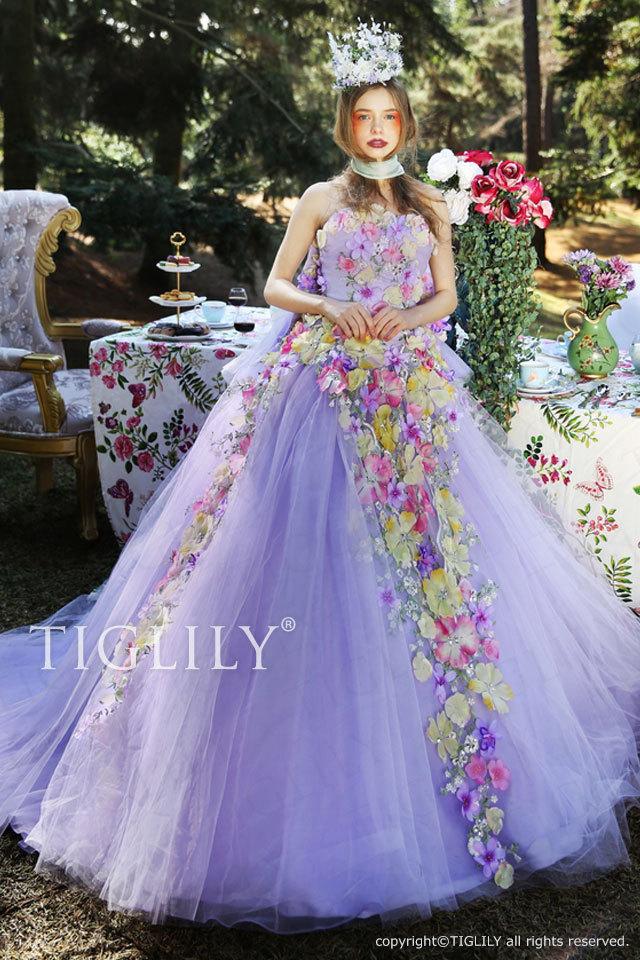 c158 TIGLILY ビオラ Viola カラードレス