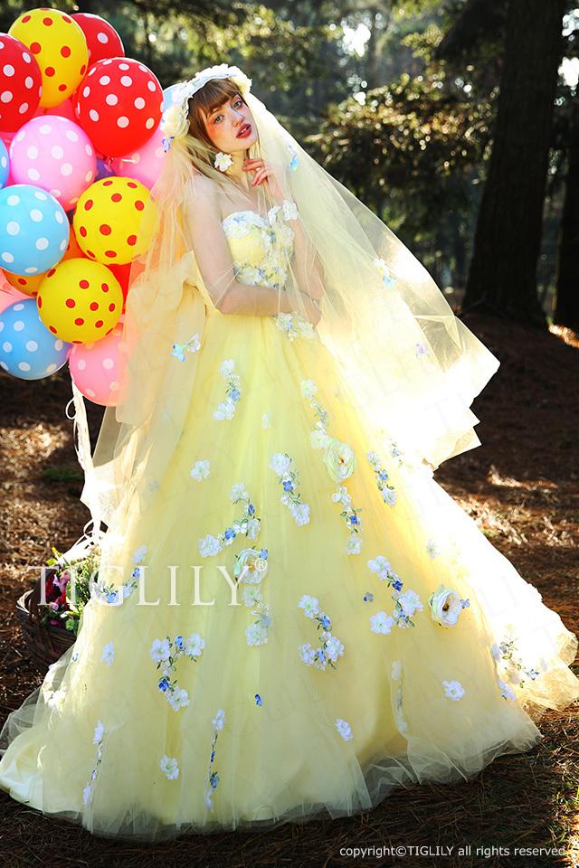 c162 TIGLILY カラードレス イエロー エマ Emma