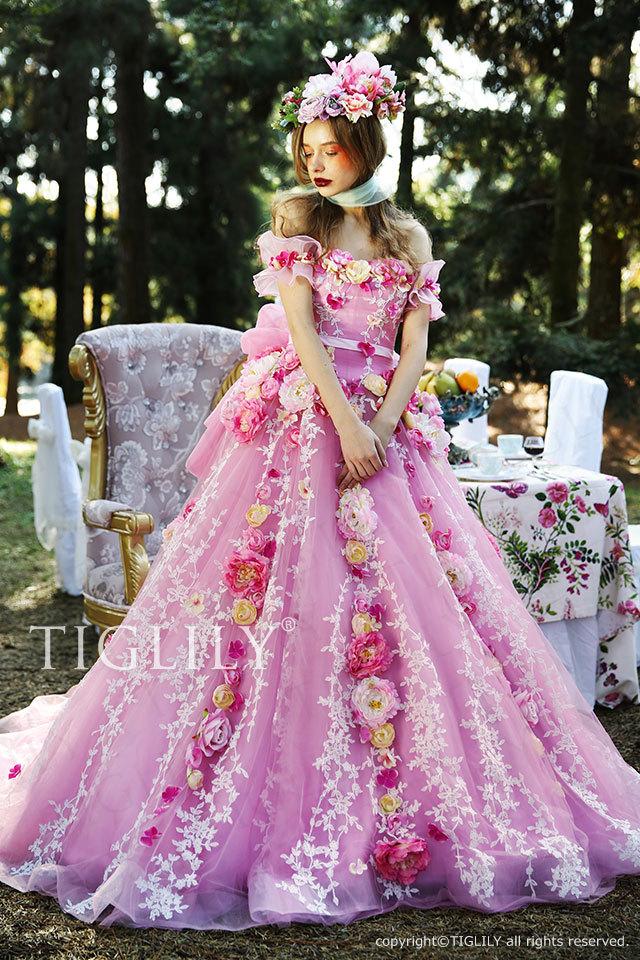 c163 ローズ Rose TIGLILY ティグリリィ カラードレス フラワードレス