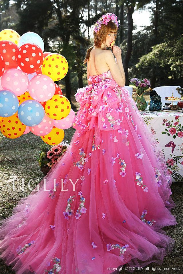 c166 リリアン Lilian TIGLILY カラードレス ピンク