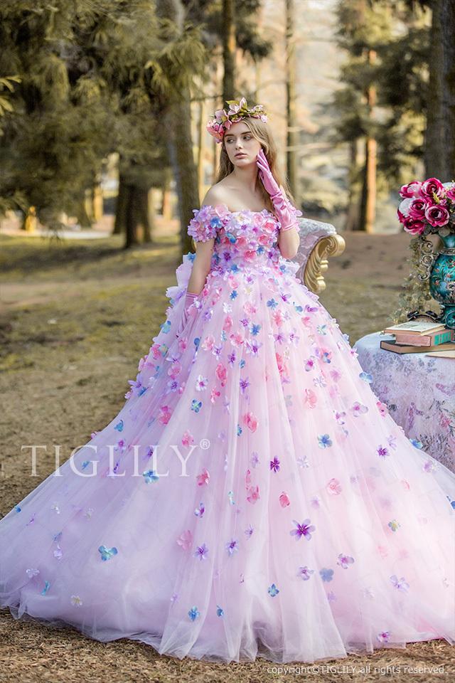 c171 ジャスミン Jasmine TIGLILY ティグリリィ カラードレス ピンク