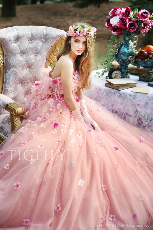 c175 アン Ann TIGLILY カラードレス ピンク