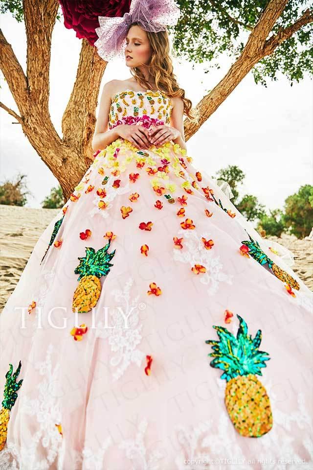 TIGLILYパイナップルのモチーフのピンクのフラワーカラードレスc186