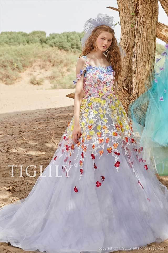 TIGLILYお花のグラデーションのスモーキーパープルのフラワードレスc181