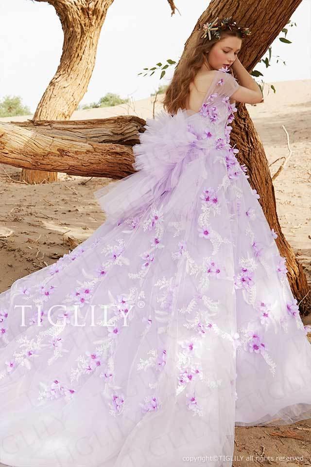 TIGLILYバックリボンとスリーブ付きのパープルのお花のカラードレスc193