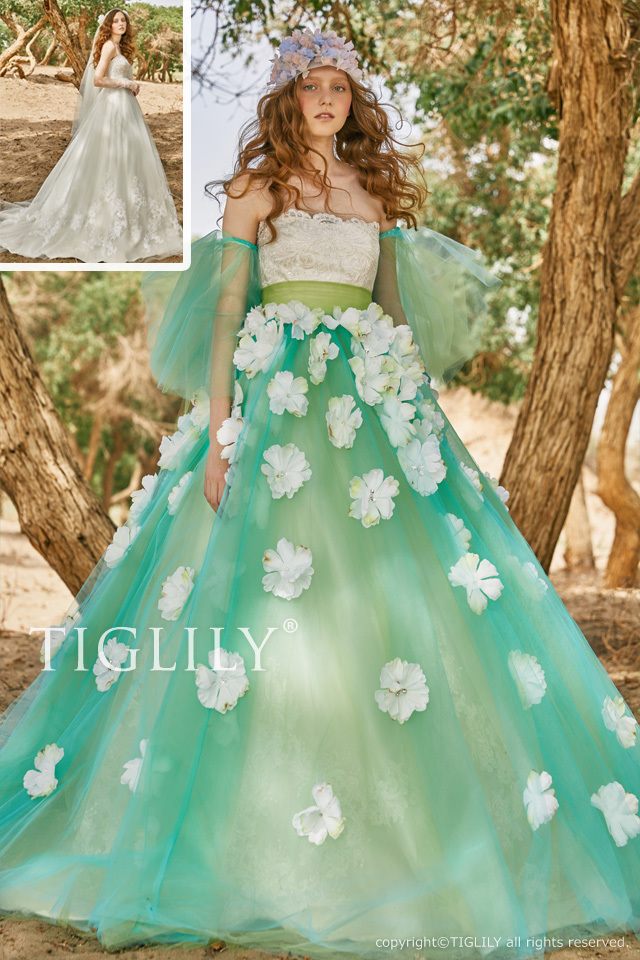【テイラー Taylor】お花のドレス_2way_オーバースカート(c194) 35,800円(税別)