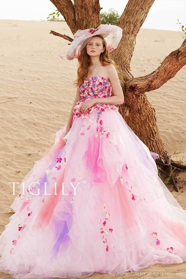 TIGLILYピンクのお花のフラワードレスc195