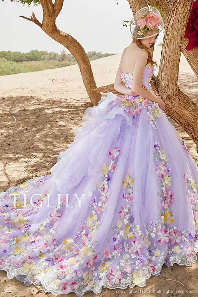 TIGLILYの人気カラーパープルのお花のフラワードレスc199