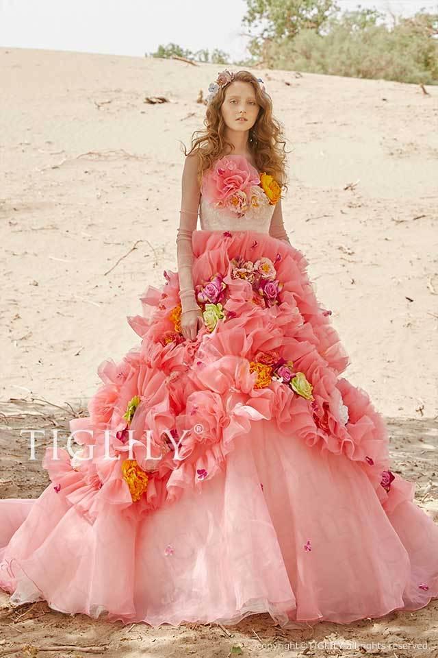 TIGLILYのお花をたくさん使ったオーバースカートのピンクのフラワードレスc204