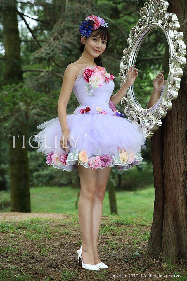 TIGLILY カラードレス ミニドレス パープル s105p