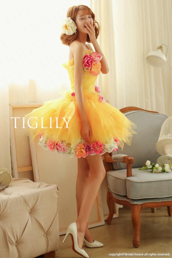 TIGLILY カラードレス ミニドレス イエロー s105y