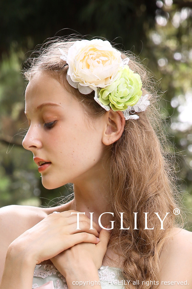 お花のヘッドドレス(髪飾り・花飾り)(th023)