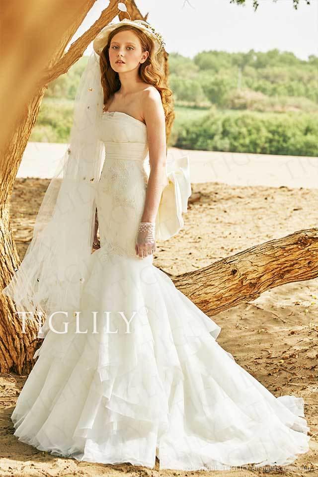 TIGLILYのバックリボンが付いたマーメイドのホワイトウエディングドレスw361