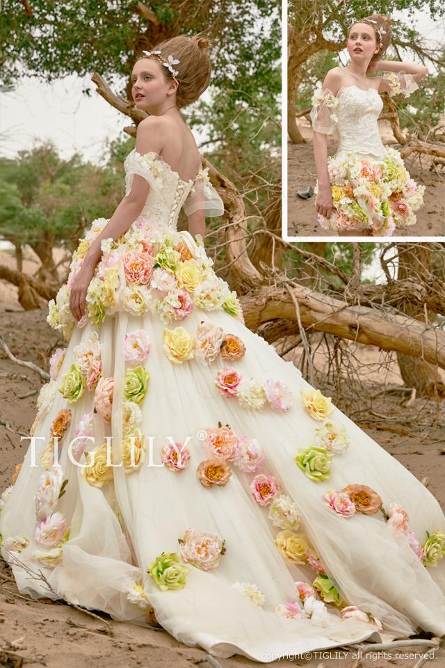 【オリーヌ Orinu】ウェディングドレス_2wayお花のホワイトドレス(w365)