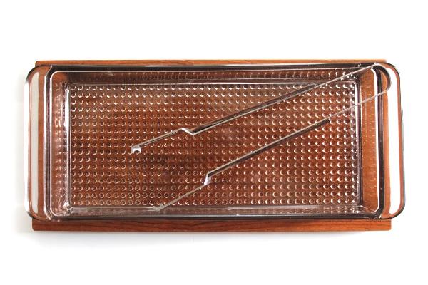北欧ビンテージ       チークトレーとガラス容器  トング付き /Karl Holmberg