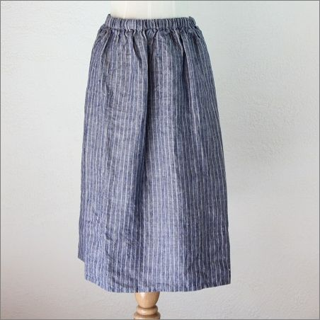 アネリ ギャザースカート ネイビーストライプ / fog linen work