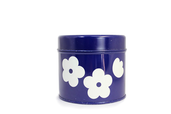 aarikka アーリッカ           花柄 缶 Sサイズ/ ブルー