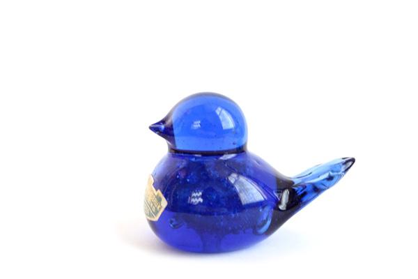 STOCKHOLMS GLASBRUK    とり ブルー/ ガラス製品