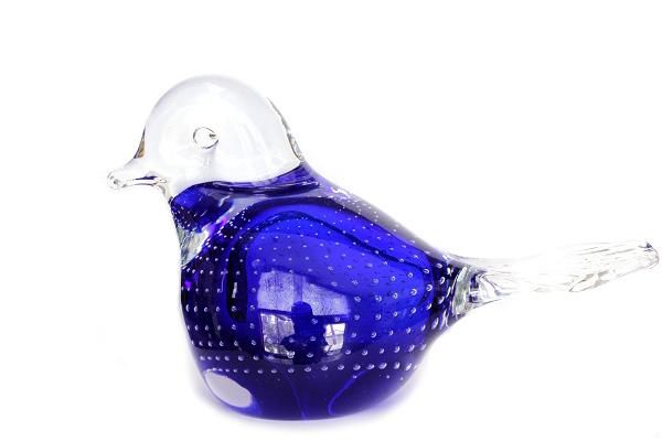 MANTORP glasbruk         とり(ブルー気泡) / ガラス製品