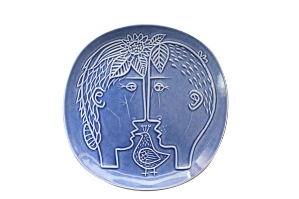 Piazza (ピアッツァ)           飾り皿/男の子と女の子(ブルー)