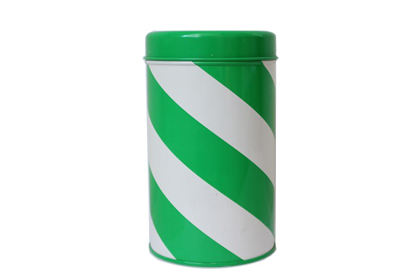 aarikka アーリッカ           ストライプ柄 缶 Mサイズ/ グリーン