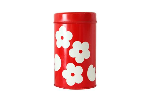 aarikka アーリッカ           花柄 缶 Mサイズ/ レッド