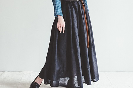 fog linen work       ヘイリースカート / ブラック