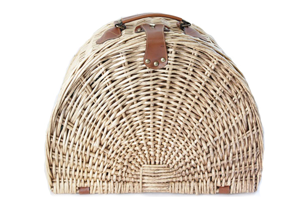 ピクニックバスケット 半円型 with プラスチック食器セット